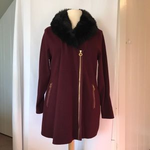 Bellini Sweater Coat with Faux Fur Collar